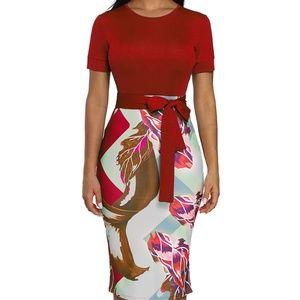 Red Print Midi Dress